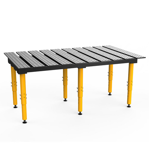 """BuildPro® TMR57846, 6-1/2' x 4' MAX Slotted Welding Table, Standard Finish, Adjustable Heavy-Duty Legs, Table Surface Height 28.5"""" - 38.5"""""""