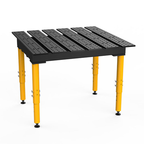 """BuildPro® TMQR54746, 4' x 4' MAX Slotted Welding Table, Nitrided Finish, Adjustable Heavy-Duty Legs, Table Surface Height 28.5"""" - 38.5"""""""