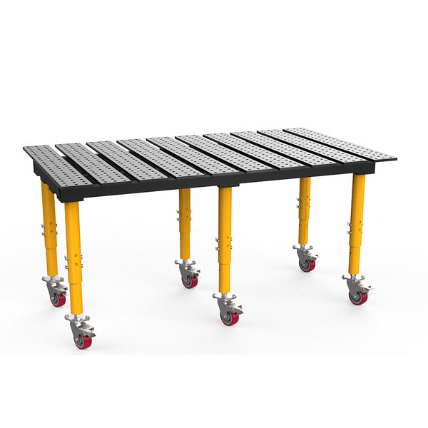 """BuildPro® TMRC57846, 6-1/2' x 4' MAX Slotted Welding Table, Standard Finish, Adjustable Heavy-Duty Legs with Casters, Table Surface Height 33.3"""" - 43.3"""""""