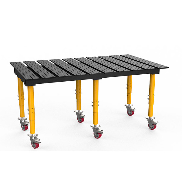 """BuildPro® TMQRC57846, 6-1/2' x 4' MAX Slotted Welding Table, Nitrided Finish, Adjustable Heavy-Duty Legs with Casters, Table Surface Height 33.3"""" - 43.3"""""""