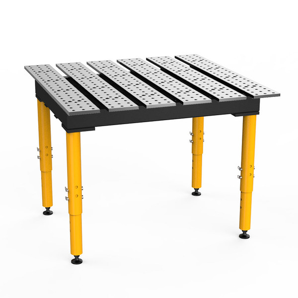 """BuildPro® TMR54746, 4' x 4' MAX Slotted Welding Table, Standard Finish, Adjustable Heavy-Duty Legs, Table Surface Height 28.5"""" - 38.5"""""""