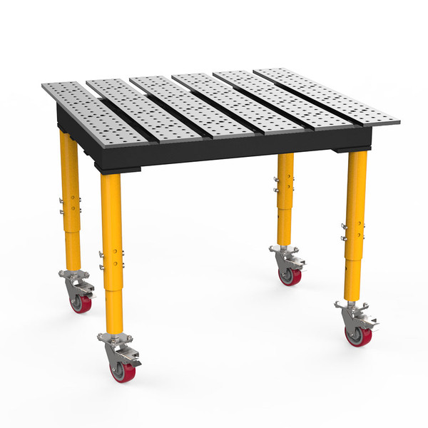 """BuildPro® TMRC54746, 4' x 4' MAX Slotted Welding Table, Standard Finish, Adjustable Heavy-Duty Legs with Casters, Table Surface Height 33.3"""" - 43.3"""""""