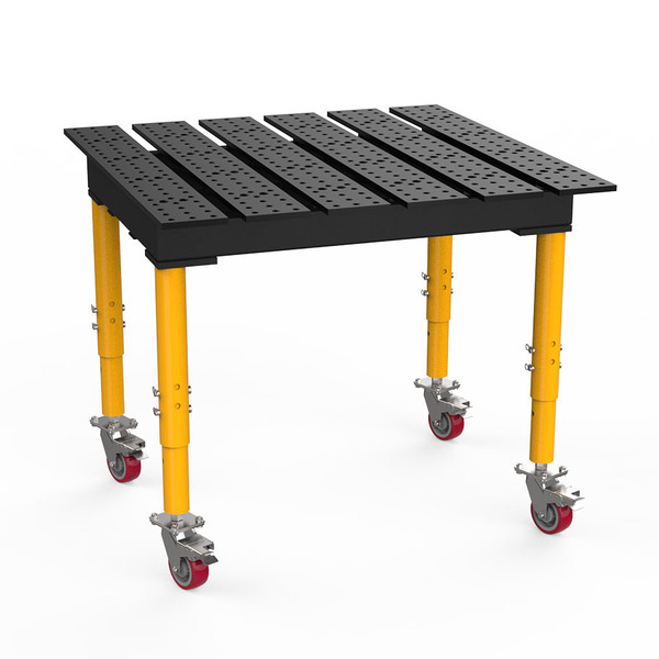 """BuildPro® TMQRC54746, 4' x 4' MAX Slotted Welding Table, Nitrided Finish, Adjustable Heavy-Duty Legs with Casters, Table Surface Height 33.3"""" - 43.3"""""""