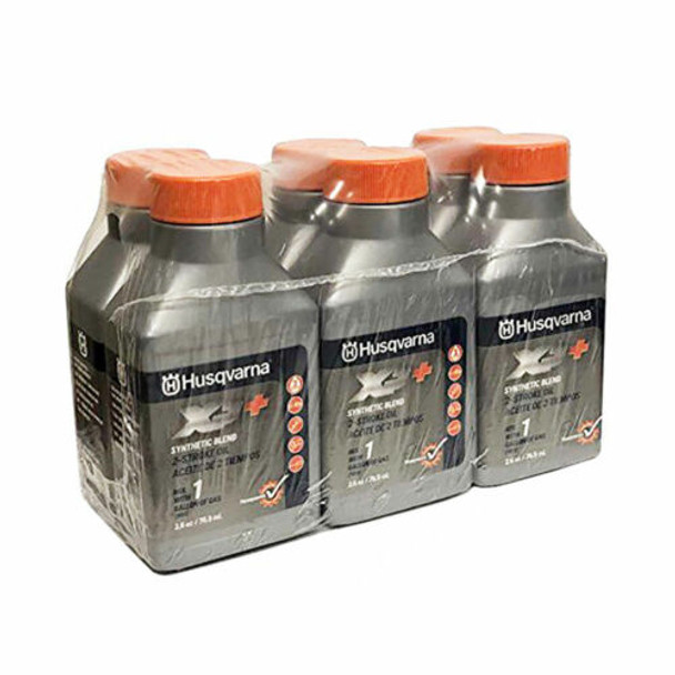 Husqvarna XP+ 2 Stroke Oil W/ Fuel Stabilizer (6-Pack of 1Gal Mix, 2.6 Oz Bottles)