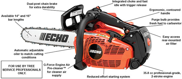 "Echo CS-355T-16 Chainsaw 35.8CC w/ 16"" Blade"