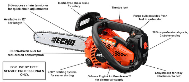 Echo CS-271T-12 (C) Lightweight Top Handle Chainsaw