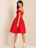 Fold-over Bardot Midi Dress - Red