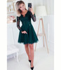 Dress with Tulle Skirt and Long Sleeves - Dark Green