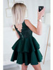Lace Top and Frill Bottom Dress - Dark Green