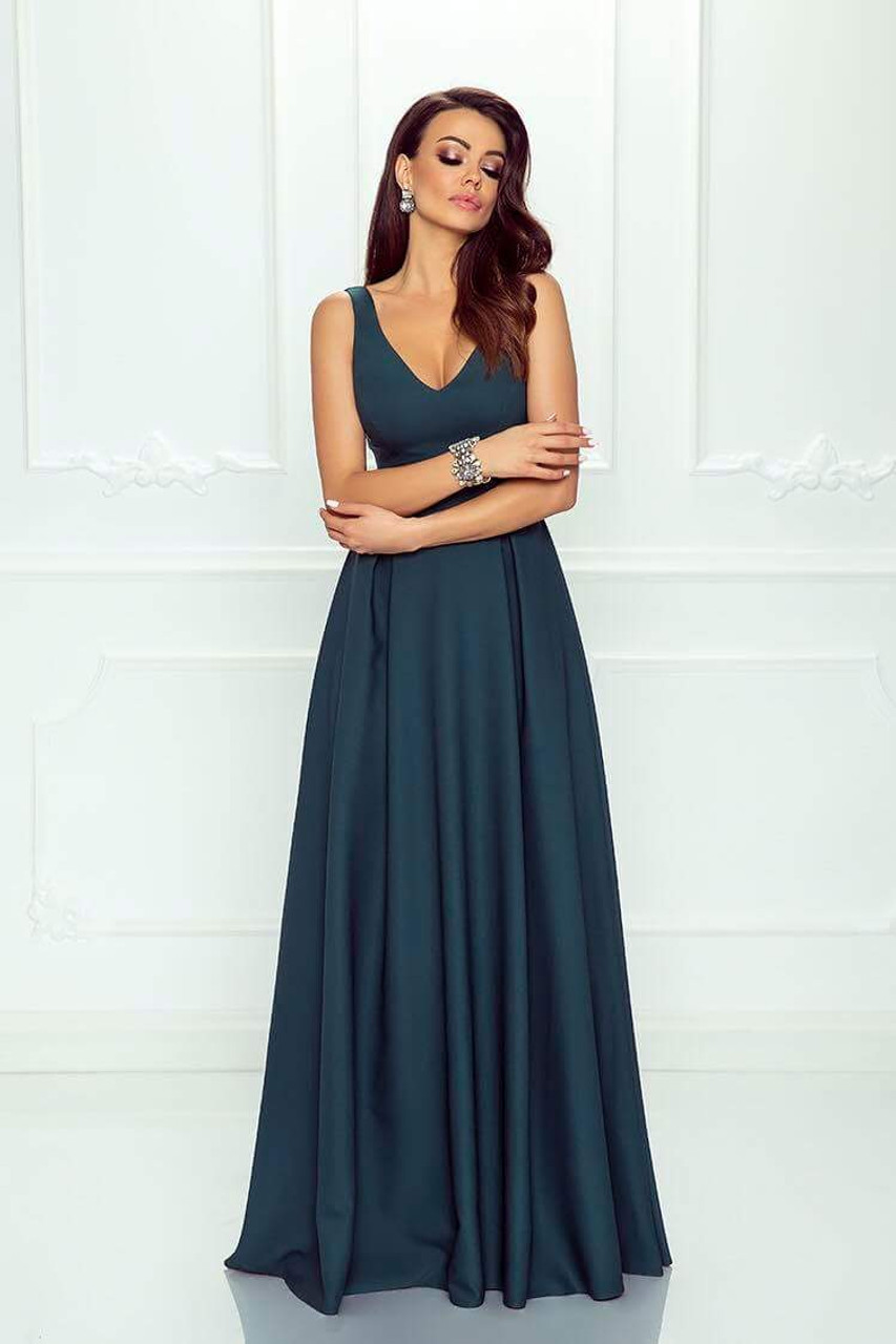 Plunge Neckline Maxi Dress - Dark Green - Be Fabulous 1dac3860b