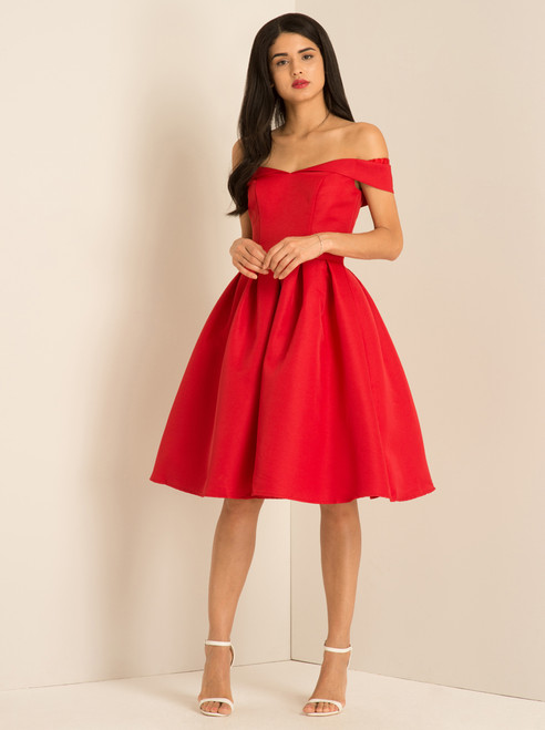 Fold-over Bardot Midi Dress - Red
