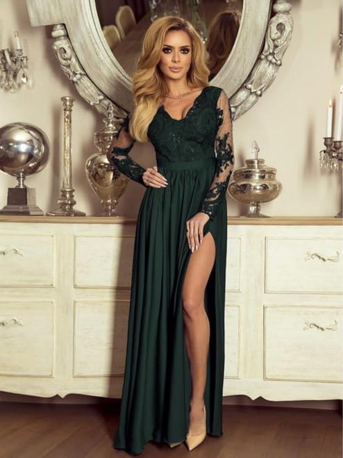 Plunge Neckline Lace Bodice Maxi Dress - Bottle green