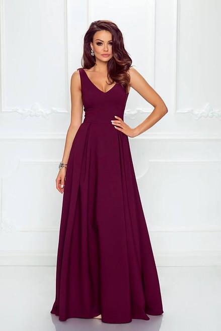 Plunge Neckline Maxi Dress - Burgundy