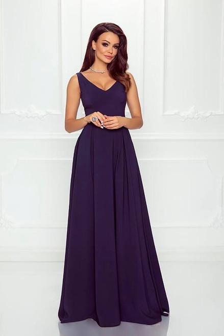 Plunge Neckline Maxi Dress - Navy