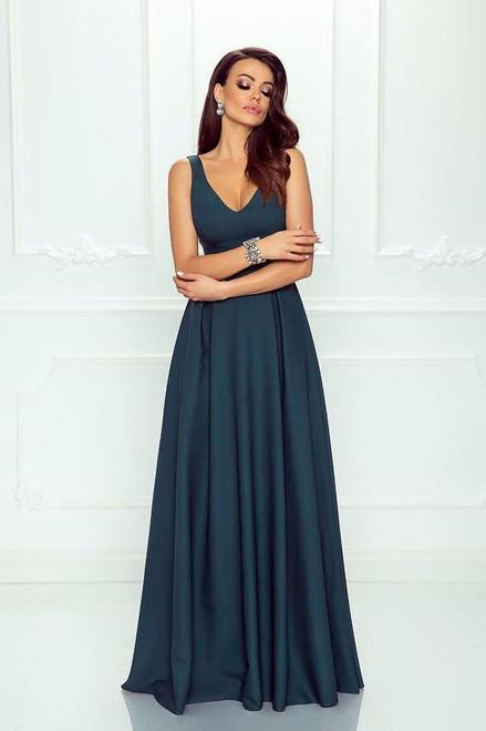 Plunge Neckline Maxi Dress - Dark Green
