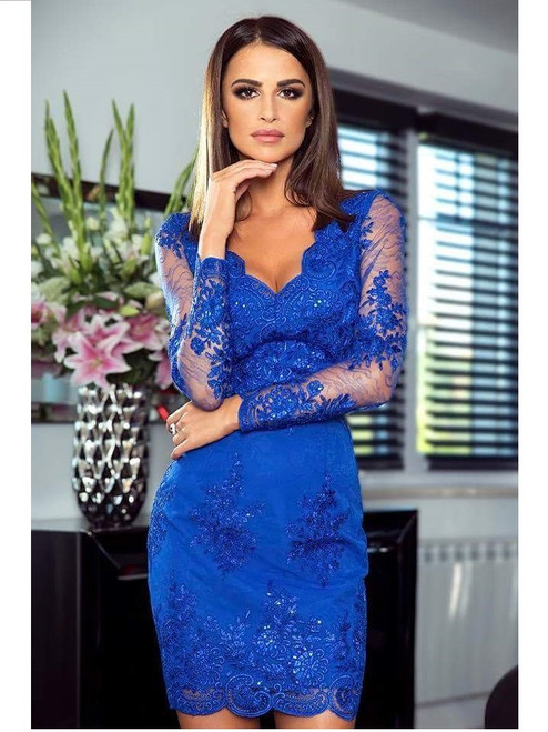 Fitted Lace Dress - Royal Blue