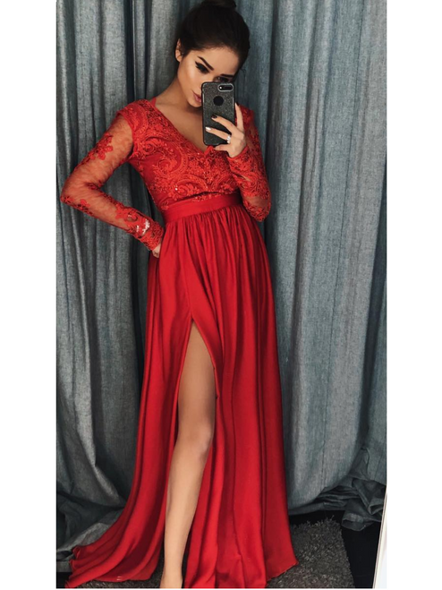 Plunge Neckline Lace Bodice Maxi Dress - Red
