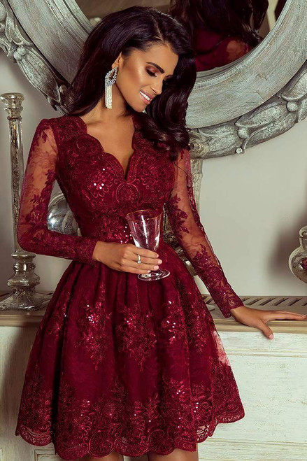Lace Skater Dress with Sleeves - Wine