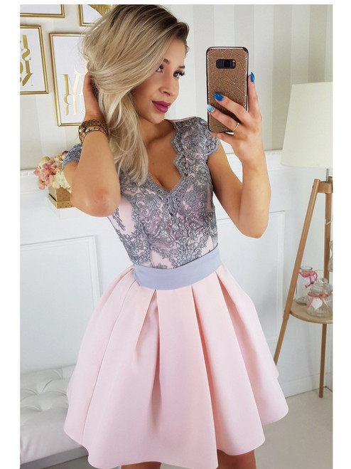 Cap Sleeves Lace Bodice Skater Dress - Pink and Grey
