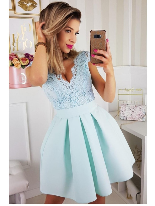 Cap Sleeves Lace Bodice Skater Dress - Mint