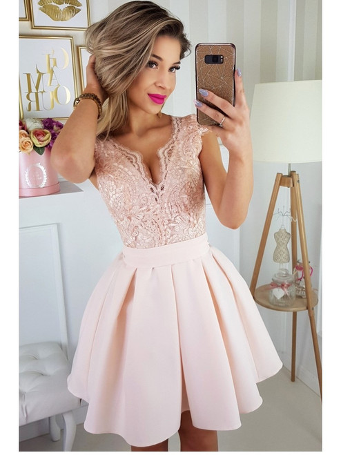 Cap Sleeves Lace Bodice Skater Dress - Light Peach