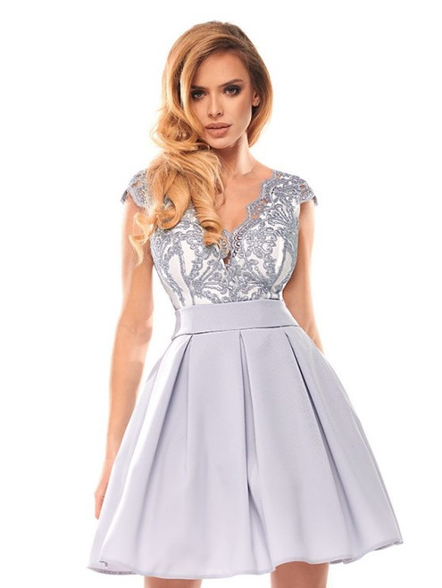 Cap Sleeves Lace Bodice Skater Dress - Grey