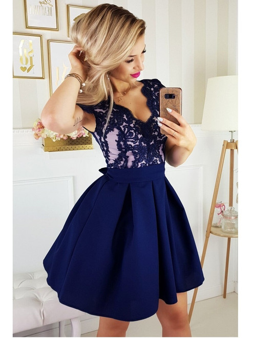 Cap Sleeves Lace Bodice Skater Dress - Navy