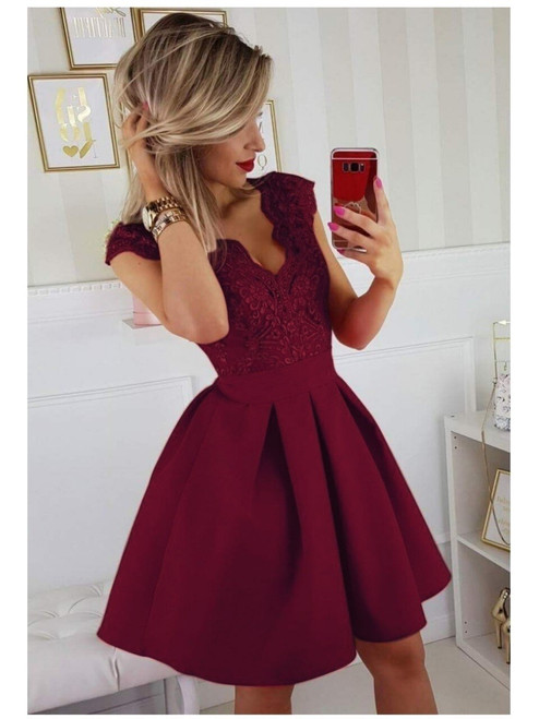 Cap Sleeves Lace Skater Dress - Berry