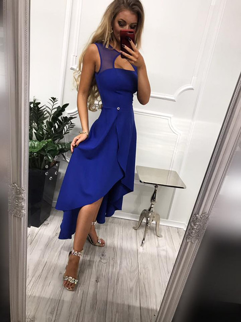 High-Low Dress with Mesh Detail - Royal Blue