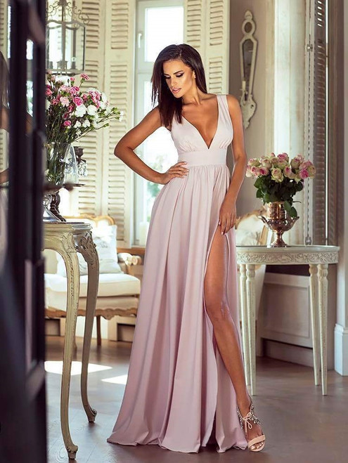 Plunge Neckline Maxi Dress with Slit - Beige