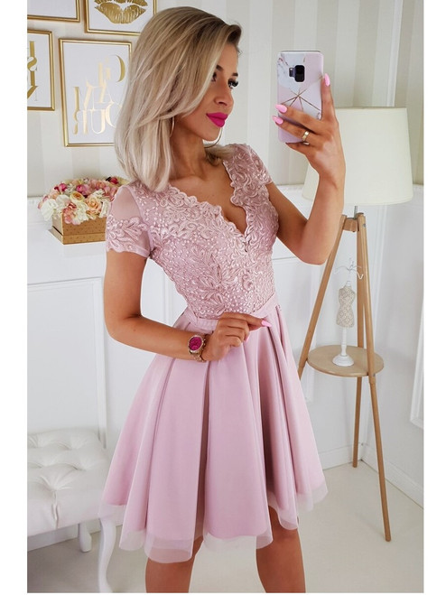 Lace Top Tulle Skirt Dress  - Powder
