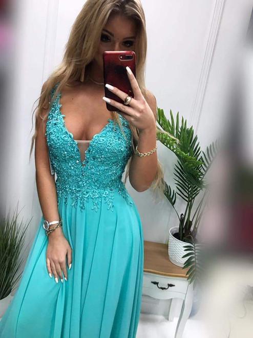 Lace Top Plunge Neckline Maxi Dress - Turquoise