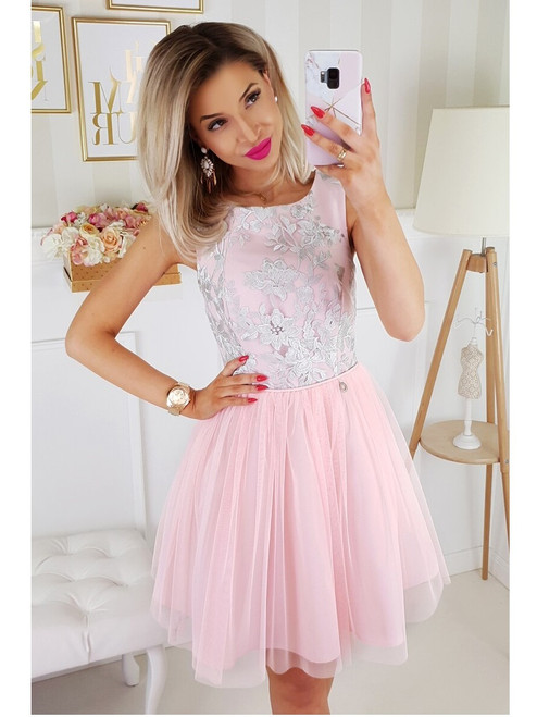 Tulle Bottom Dress  -  Pink and Grey