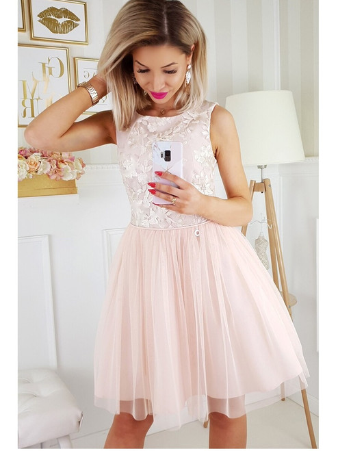Tulle Bottom Dress  -  Champagne