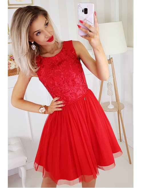 Tulle Bottom Dress  -  Red