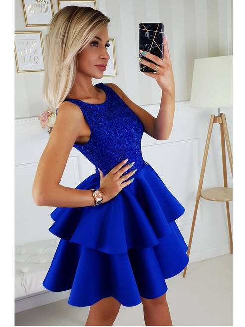 Lace Top and Frill Bottom Dress - Royal Blue