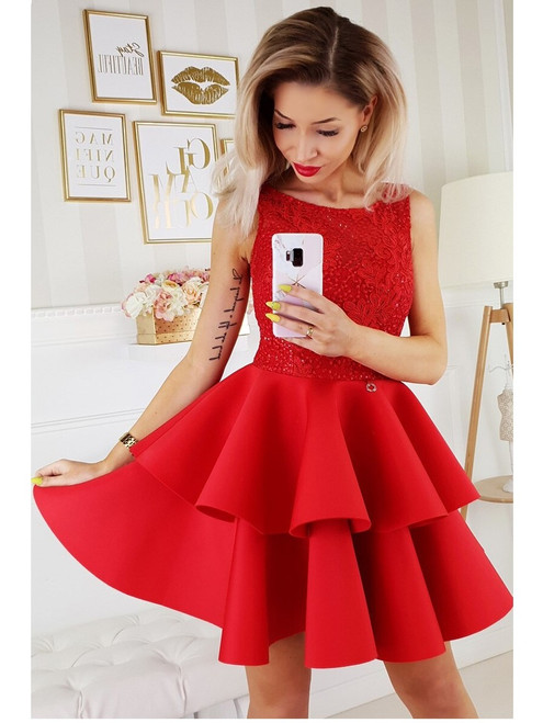 Lace Top and Frill Bottom Dress - Red
