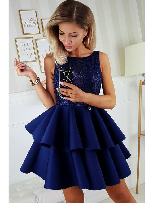 Lace Top and Frill Bottom Dress - Navy
