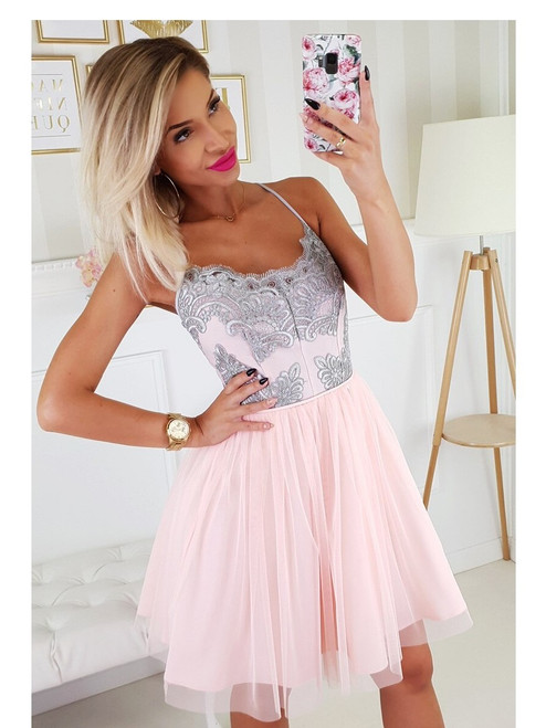 Tulle Bottom Dress with Straps  -  Pink and Grey