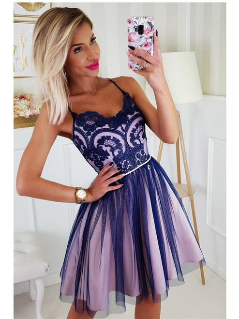 Tulle Bottom Dress with Straps  -  Navy and Pink