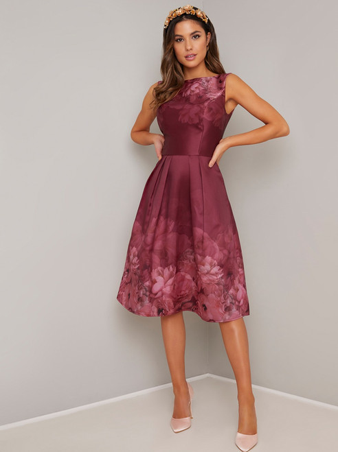 Floral Print Midi Dress - Burgundy