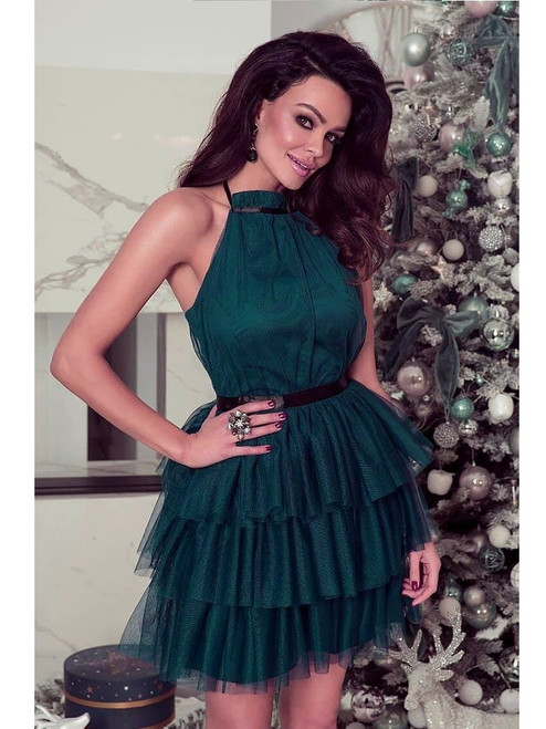 Halter Neck Tulle Dress - Dark Green