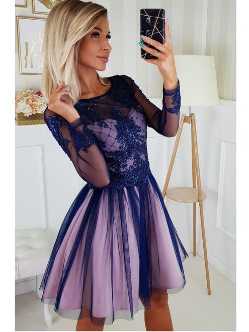 Tulle Bottom Dress with Sleeves  -  Navy and Pink