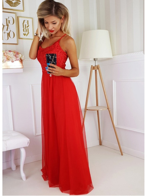 Tulle Bottom Maxi Dress - Red