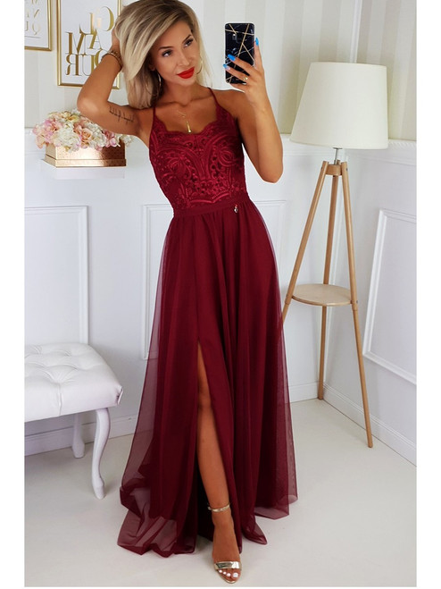 Tulle Bottom Maxi Dress - Burgundy