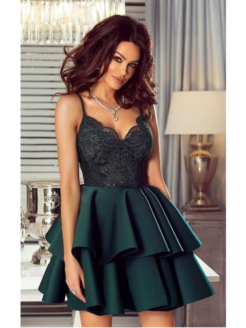 Dress with Lace Top and Frill Bottom - Bottle Green