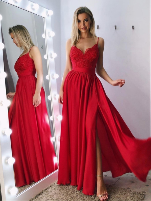 Spaghetti Straps Lace Bodice Maxi Dress - Red