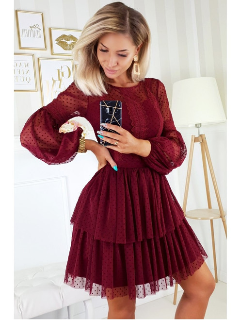 Puff Sleeves  Dress - Burgundy