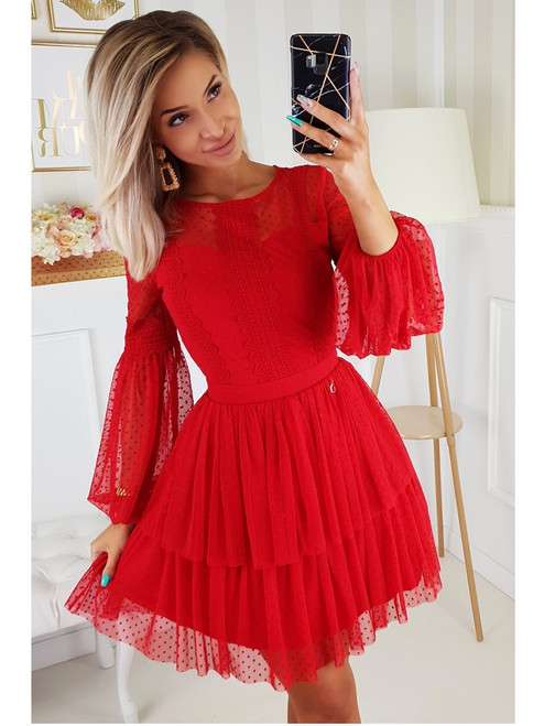 Puff Sleeves Dress - Red