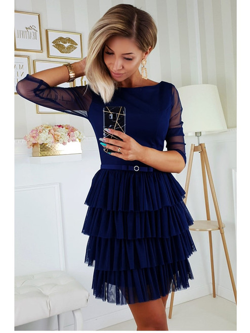 3/4 Sleeve Frill Bottom Dress - Navy